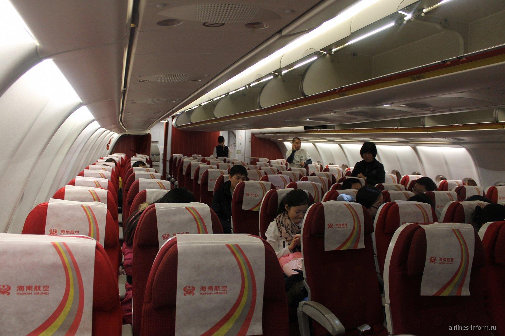 Салон самолета Airbus A330-300 Хайнаньских авиалиний