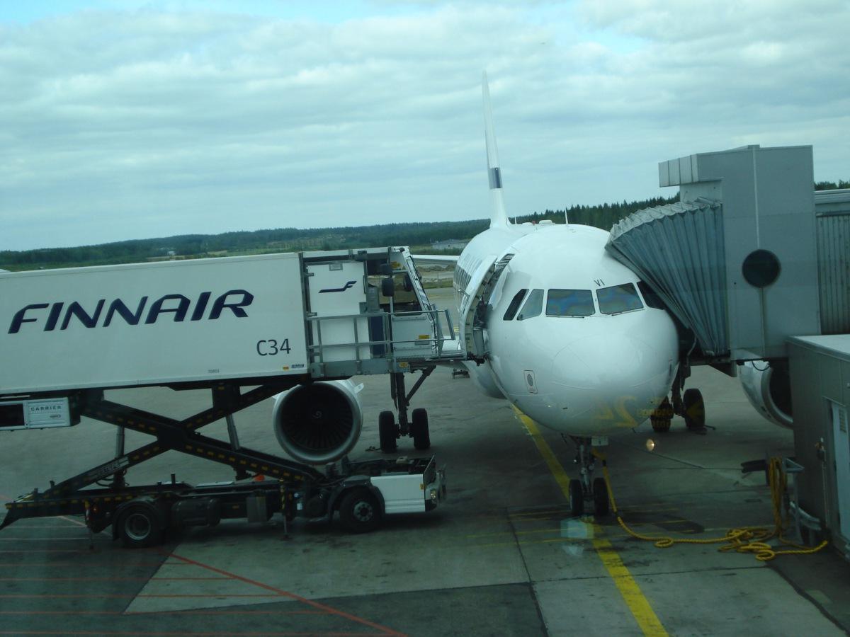 Airbus A319 of Finnair at the Helsinki Vantaa airport