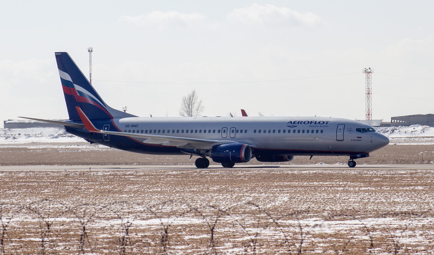 Самолет Boeing 737-800 VQ-BWC Аэрофлота в аэропорту Иркутска