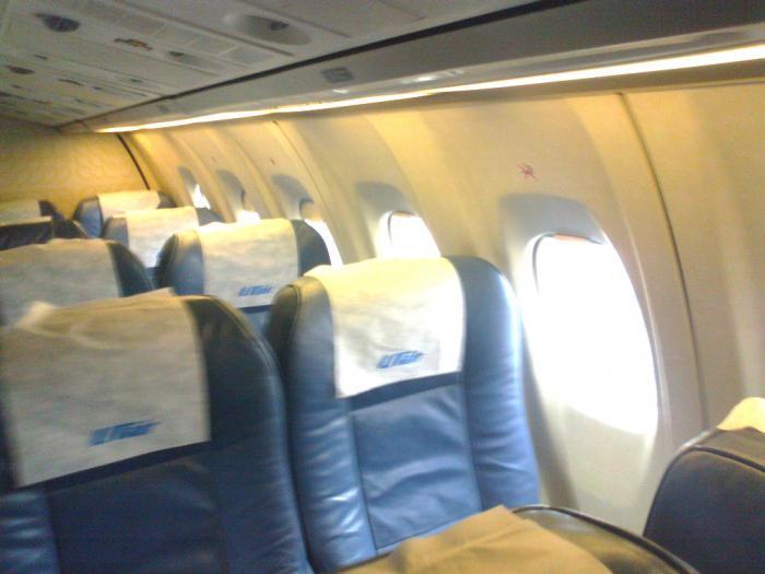 Салон самолета ATR 42 авиакомпании UTair