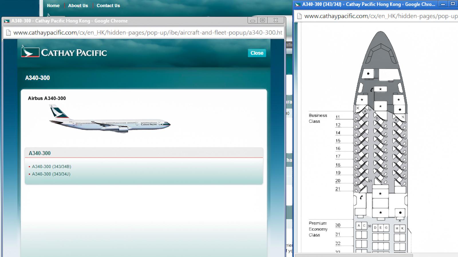 Схема салона Airbus A340-300 авиакомпании Cathay Pacific