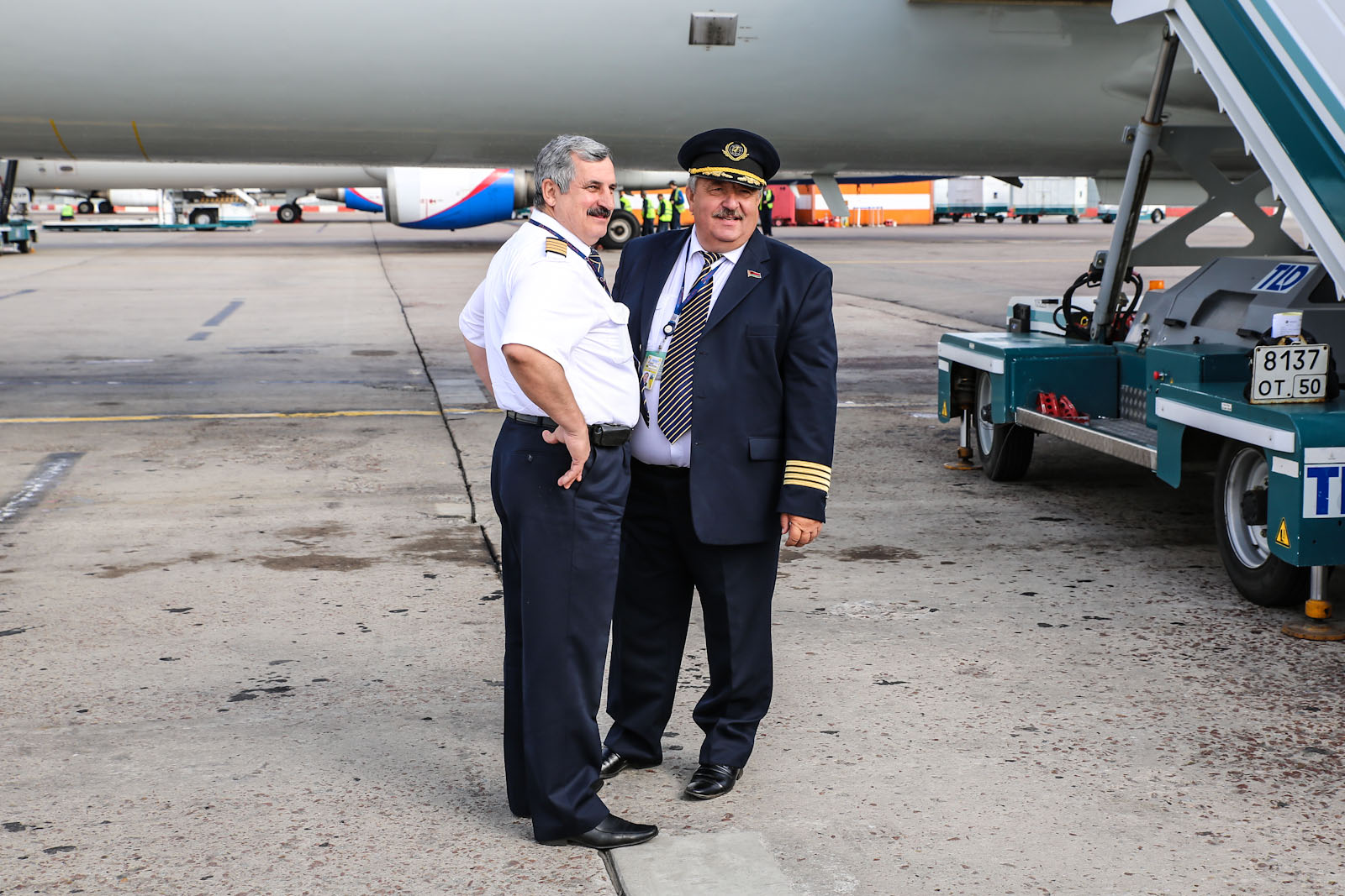 "Экипаж самолета Ту-154М авиакомпании ""Белавиа"" в аэропорту Домодедово"