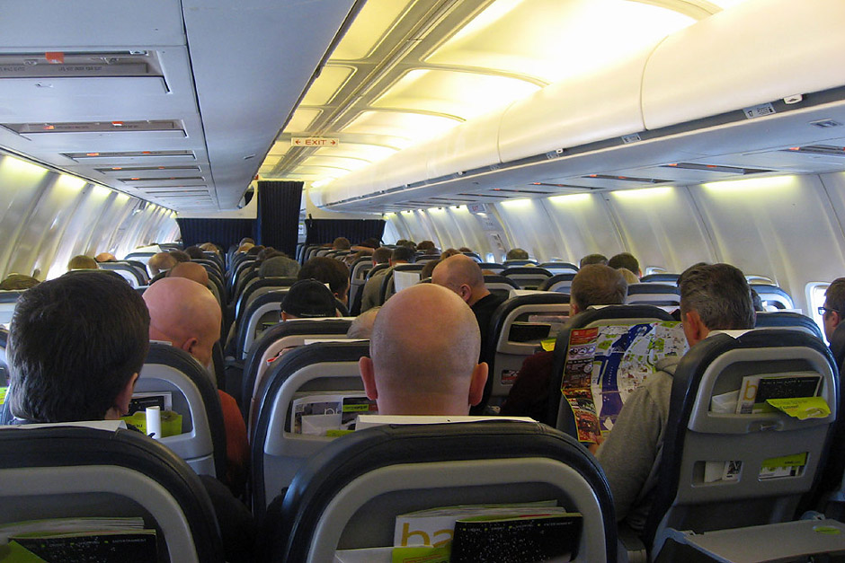 Passenger cabin of Boeng 737-500 of airBaltic airline