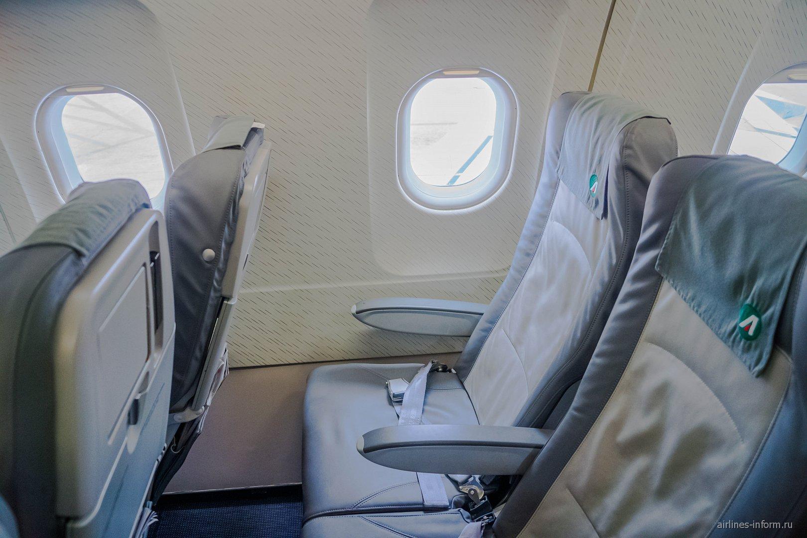 Пассажирские кресла в самолете Airbus A321 авиакомпании Alitalia
