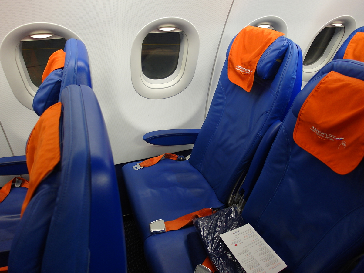 Пассажирское место в салоне Airbus A320 Аэрофлота