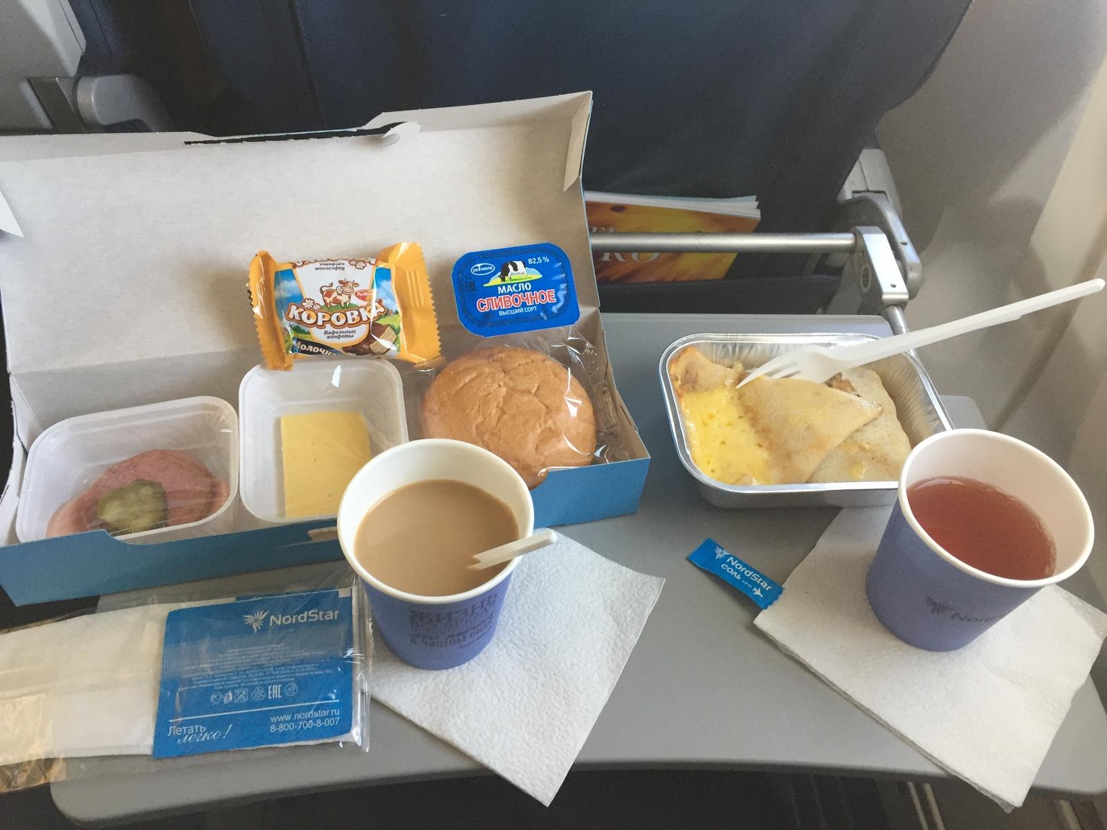 Бортовое питание на рейсе Норильск-Москва авиакомпании NordStar