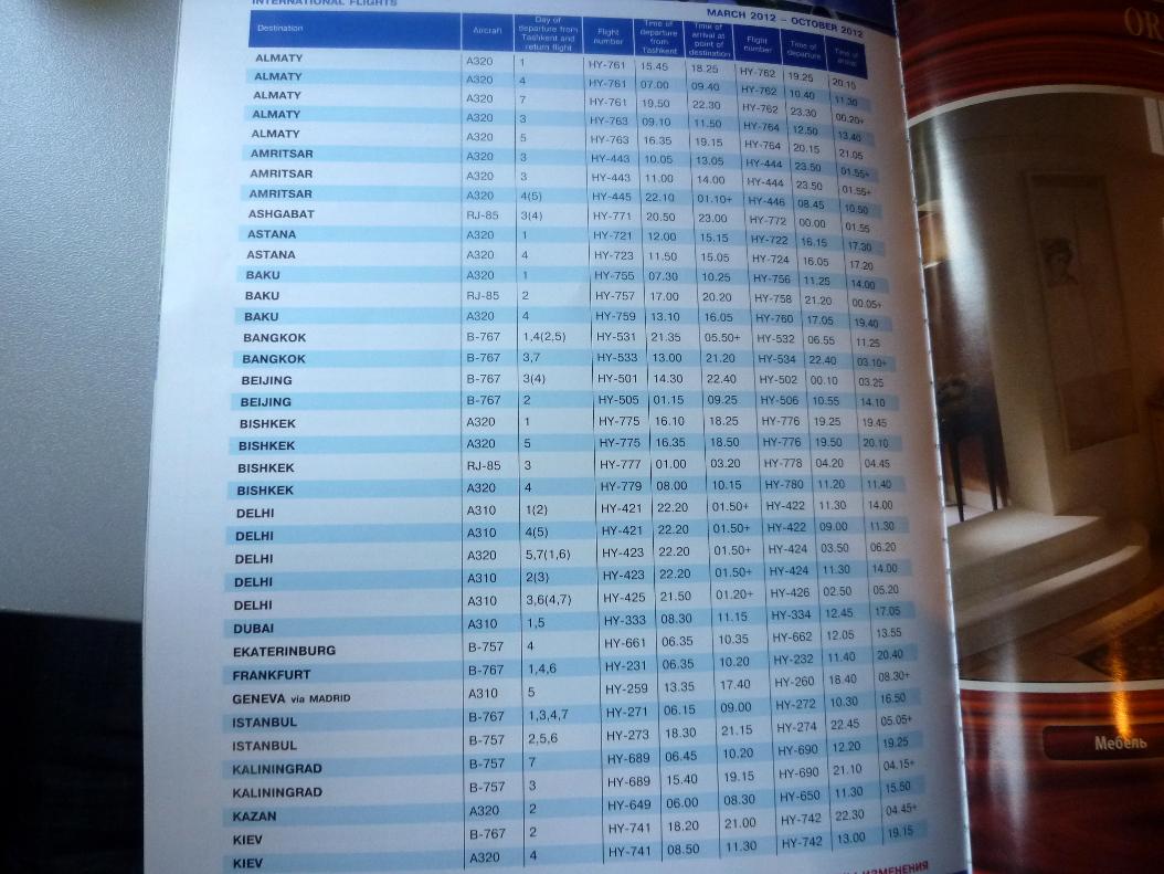Расписание рейсов Узбекских авиалиний