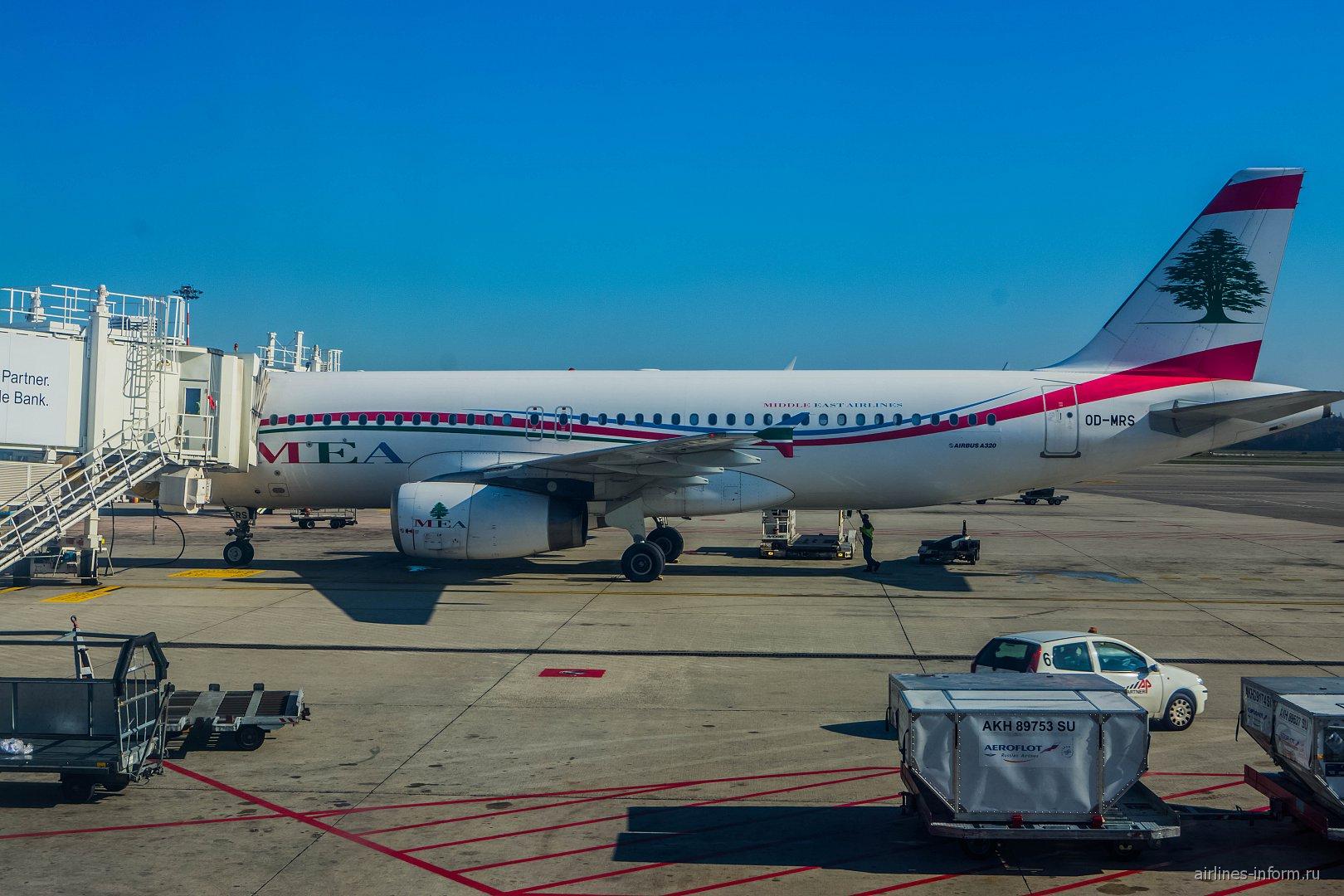 Airbus A320 авиакомпании MEA в аэропорту Милана