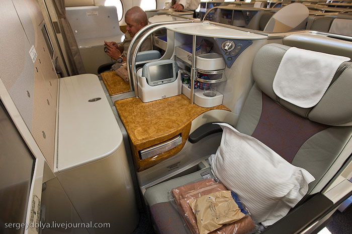 Business class cabin in Airbus A380 Emirates