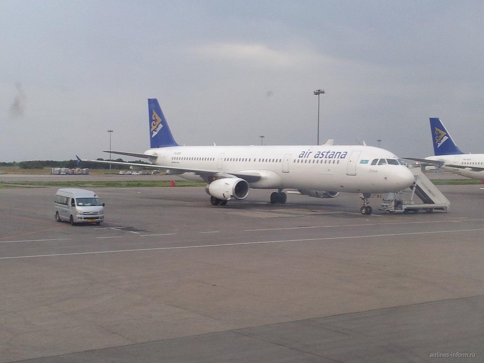 Airbus A320 Air Astana в аэропорту Алматы