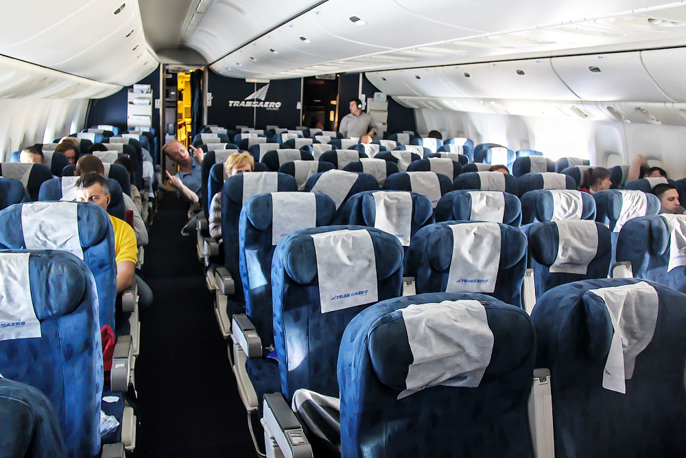 Tourist class seats in Transaero Boeing 777-200