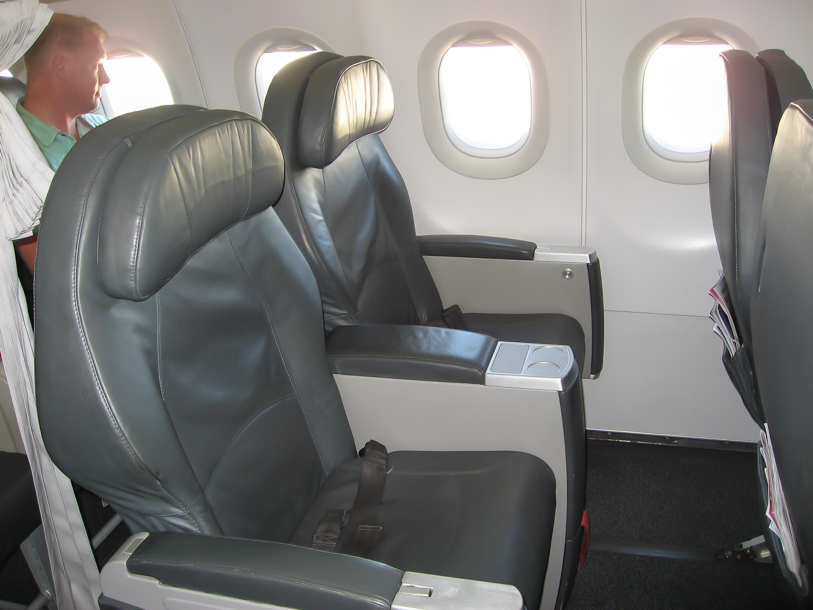 Business class cabin of an Airbus A319 Bulgaria Air