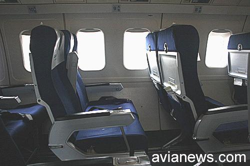 Кресла самолета Fokker 50 авиакомпании airBaltic