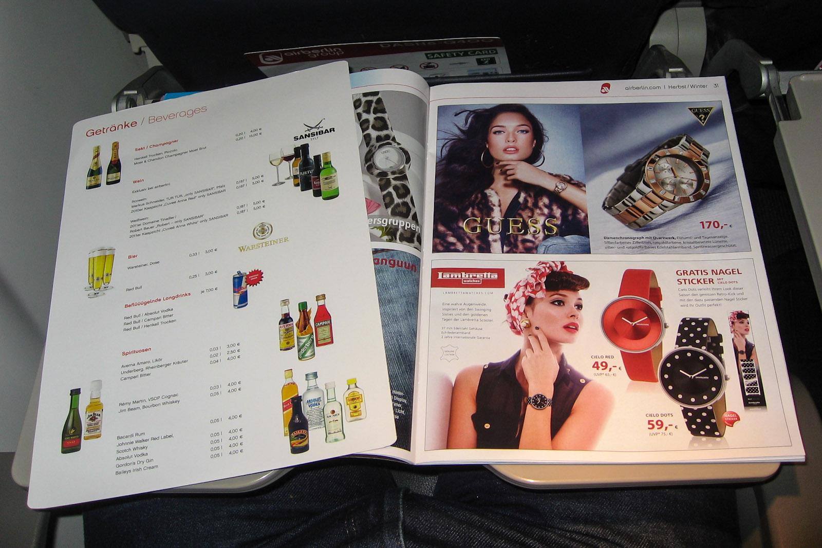 Каталог товаров на борту на рейсе airberlin/LGW