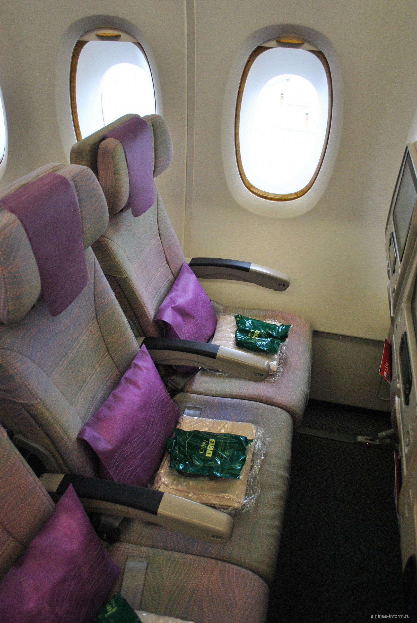 Места экономического класса в Airbus A380 авиакомпании Emirates