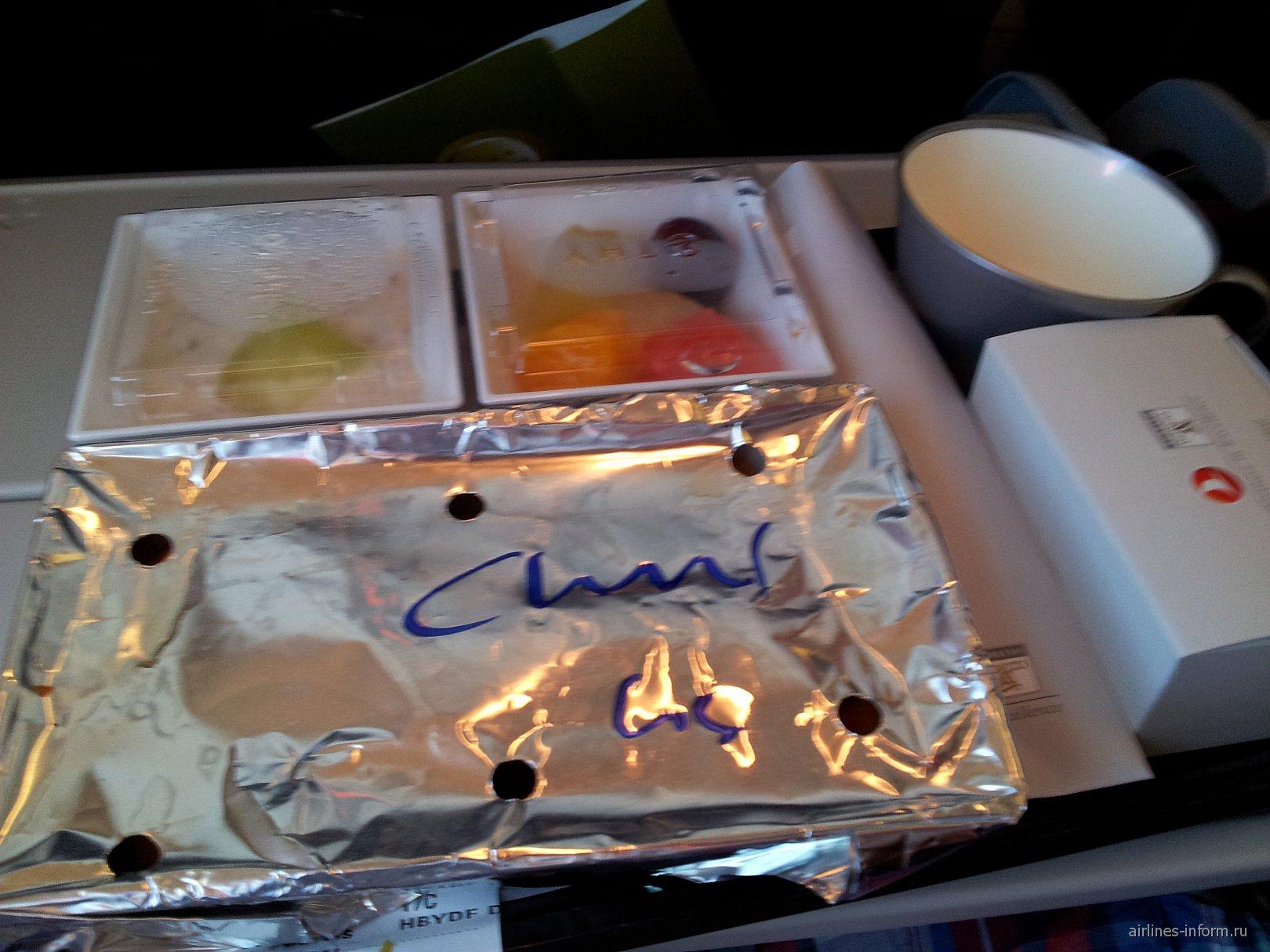 Питание на рейсе Алматы-Стамбул Турецких авиалиний