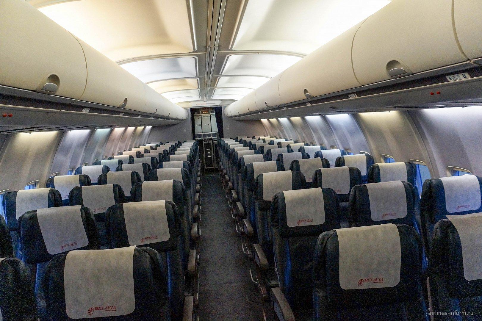 "Пассажирский салон в самолете Боинг-737-500 авиакомпании ""Белавиа"""