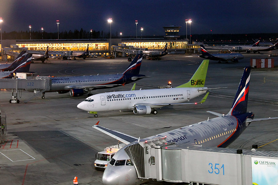 Plane of airBaltic in Moscow Sheremetyevo Airport