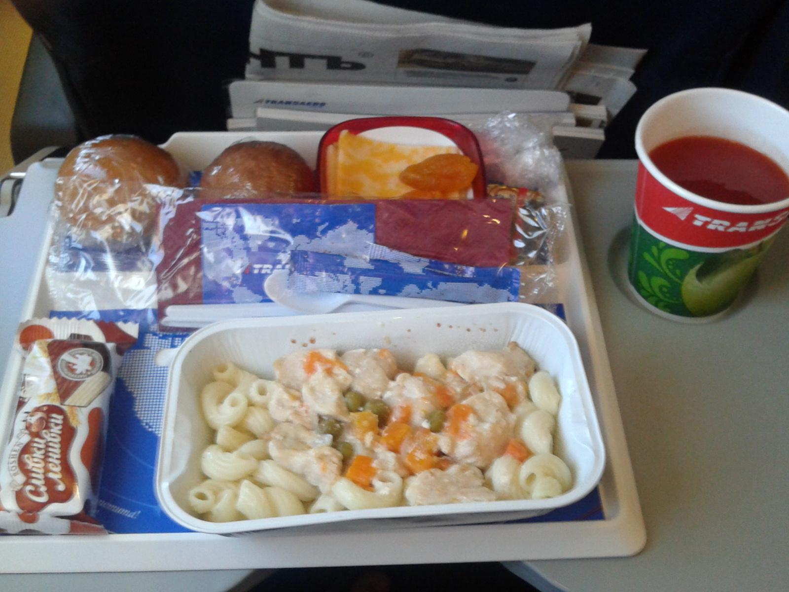 Питание на рейсе авиакмпанииТрансаэро Пермь-Киев