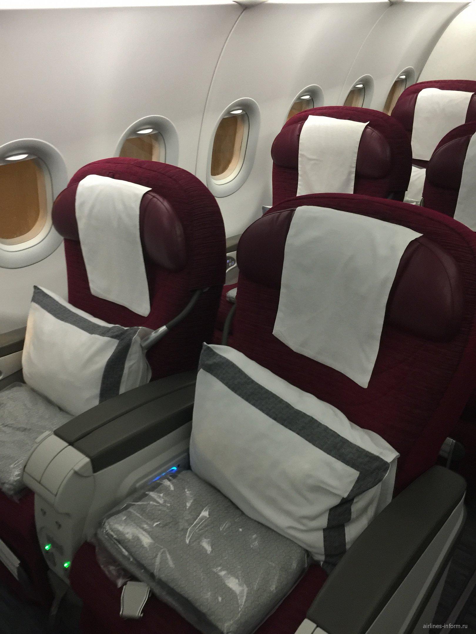 Кресла бизнес-класса в самолете Airbus A320 Катарских авиалиний