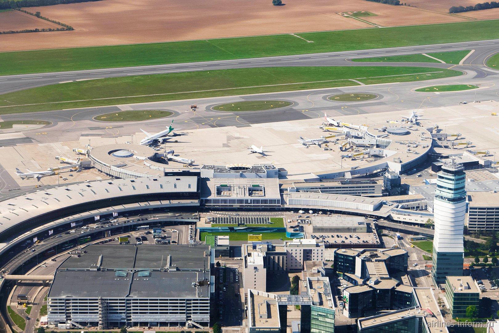 Пассажирские терминалы и перрон аэропорта Вена Швехат