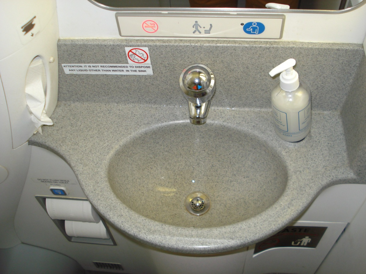 Restroom of an Embraer 190 of Finnair