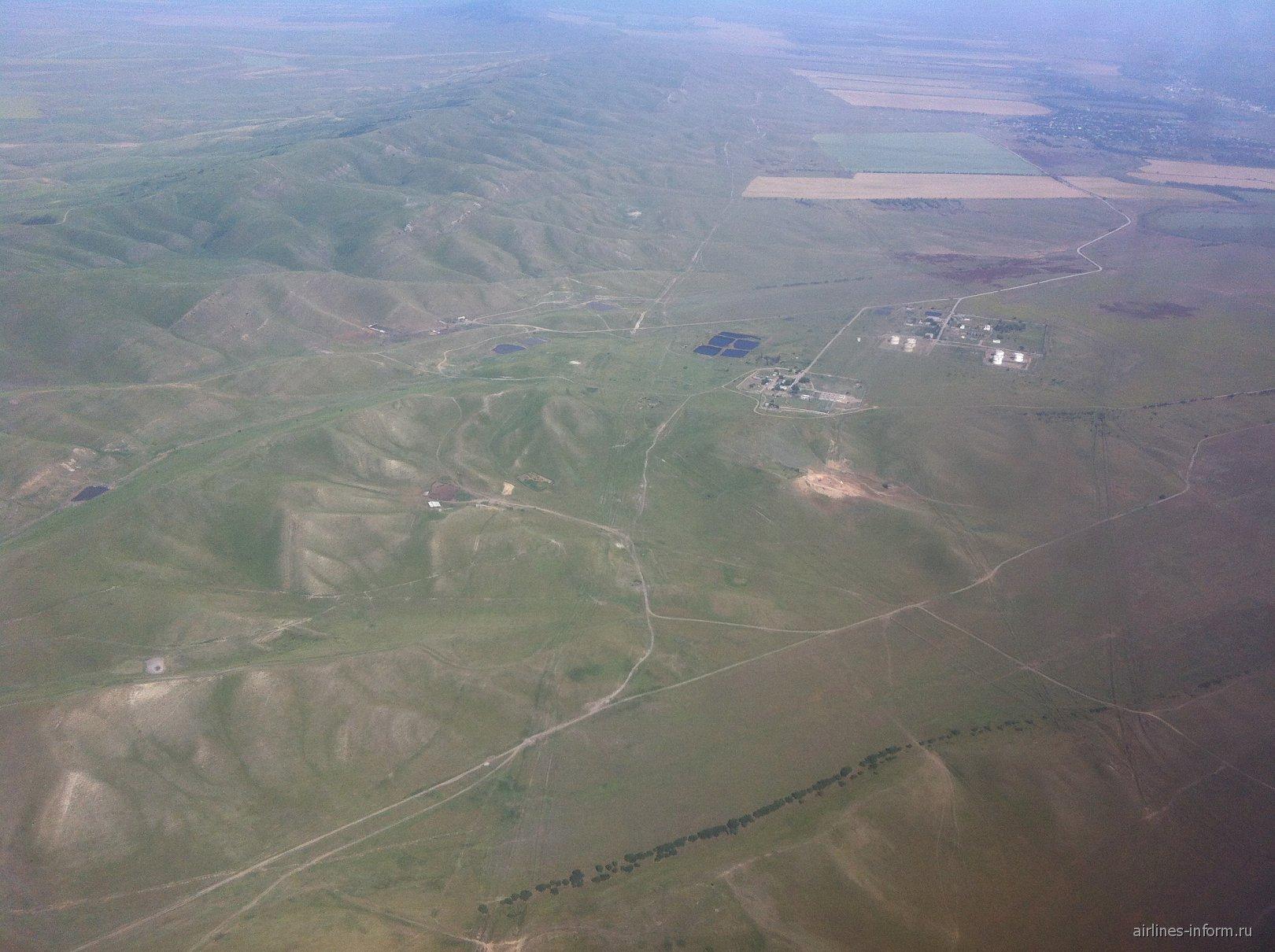 В полете над Чечней перед посадкой в аэропорту Грозный