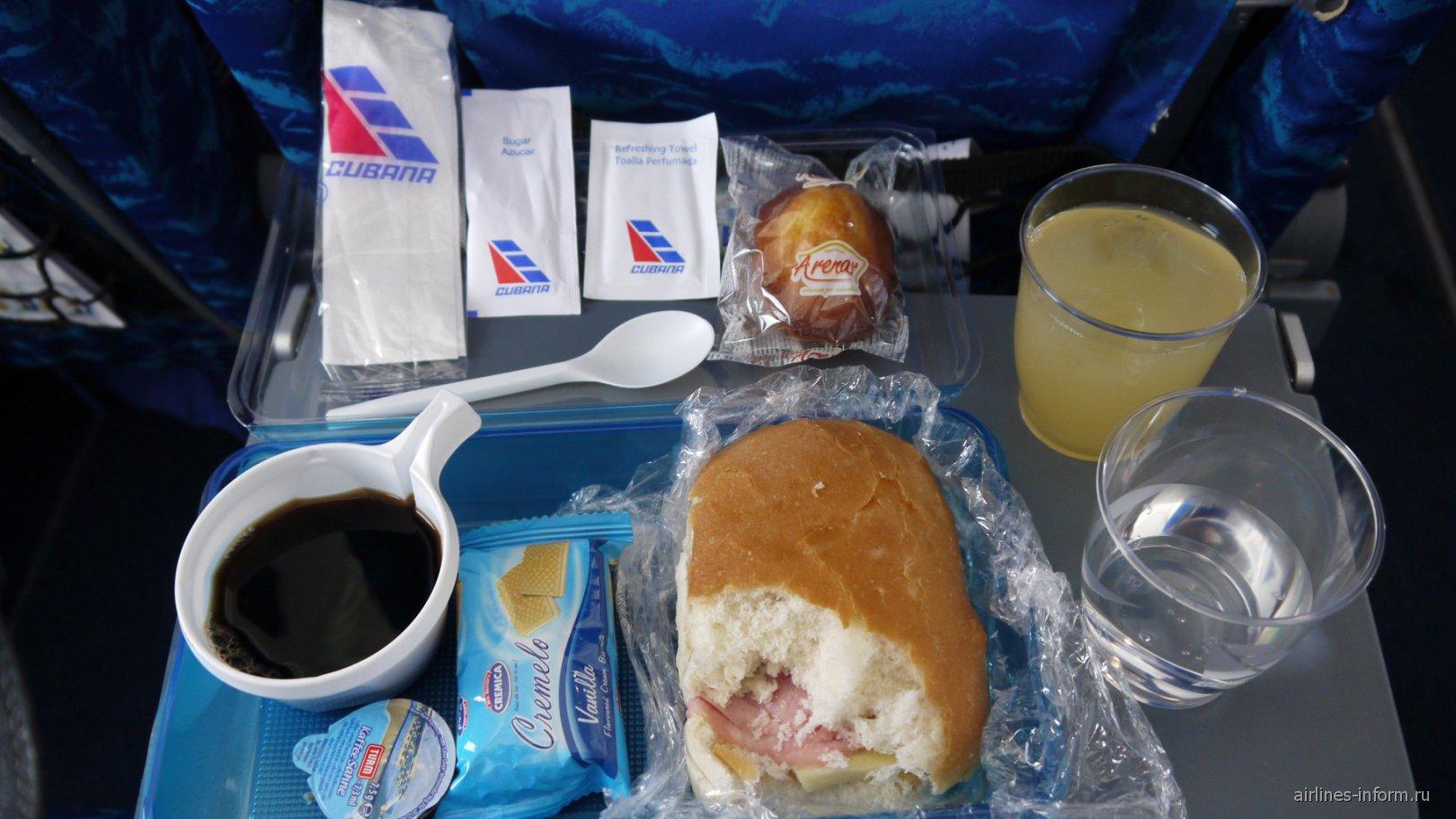 Бортпитание на рейсе Гавана-Богота авиакомпании Cubana