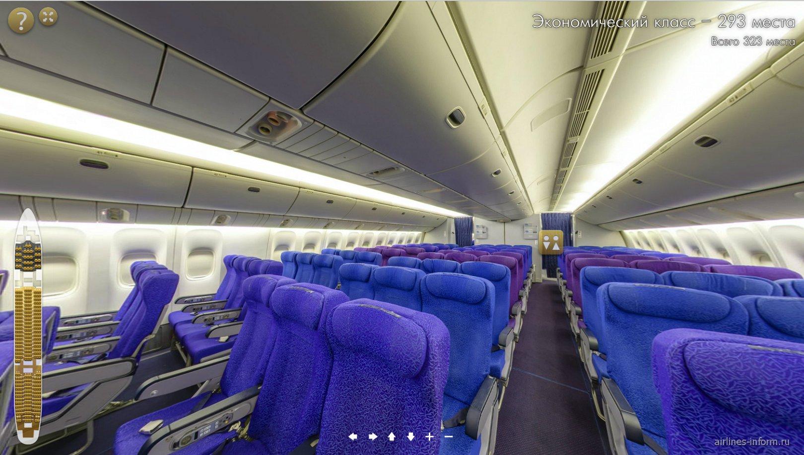 Салон самолета Боинг-777-200 авиакомпании Трансаэро