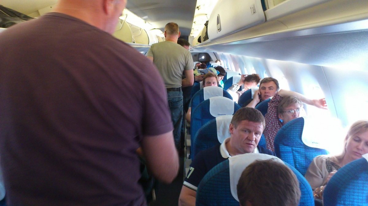 Passenger cabin of Embraer 170 of Estonian Air
