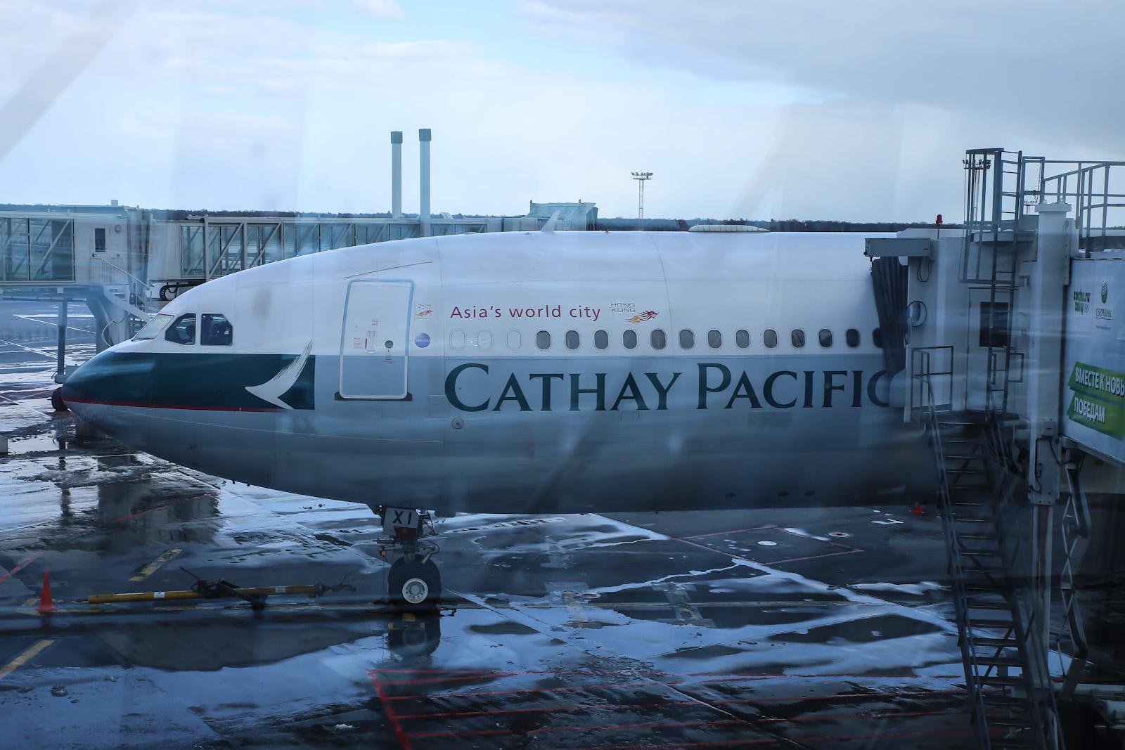 Посадка на рейс Москва-Гонконг авиакомпании Cathay Pacific