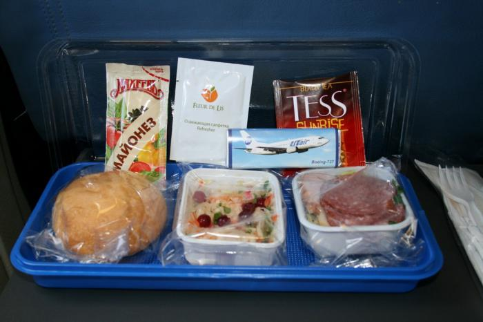 Meal on the UTair flight Moscow-Ulyanovsk