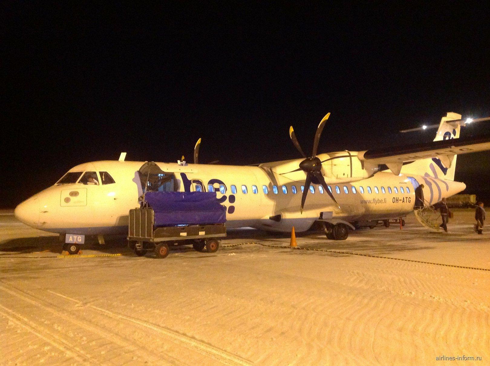 Самолет ATR 72 авиакомпании Flybe Nordic в аэропорту Каяни