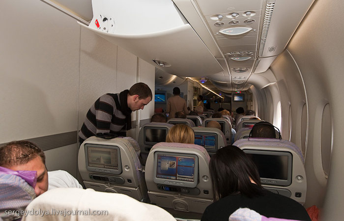 Economy class cabin in Airbus A380 Emirates