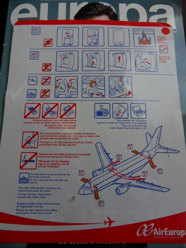 Инструкция по безопасности авиакомпании Air Europa