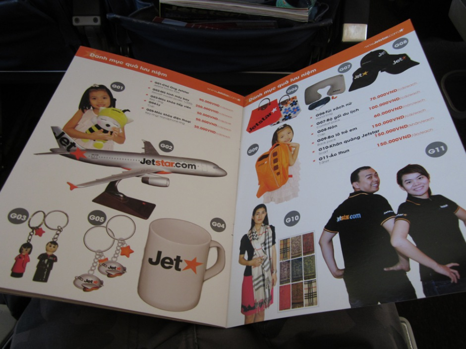 Menu of JetStar Pacific Airlines