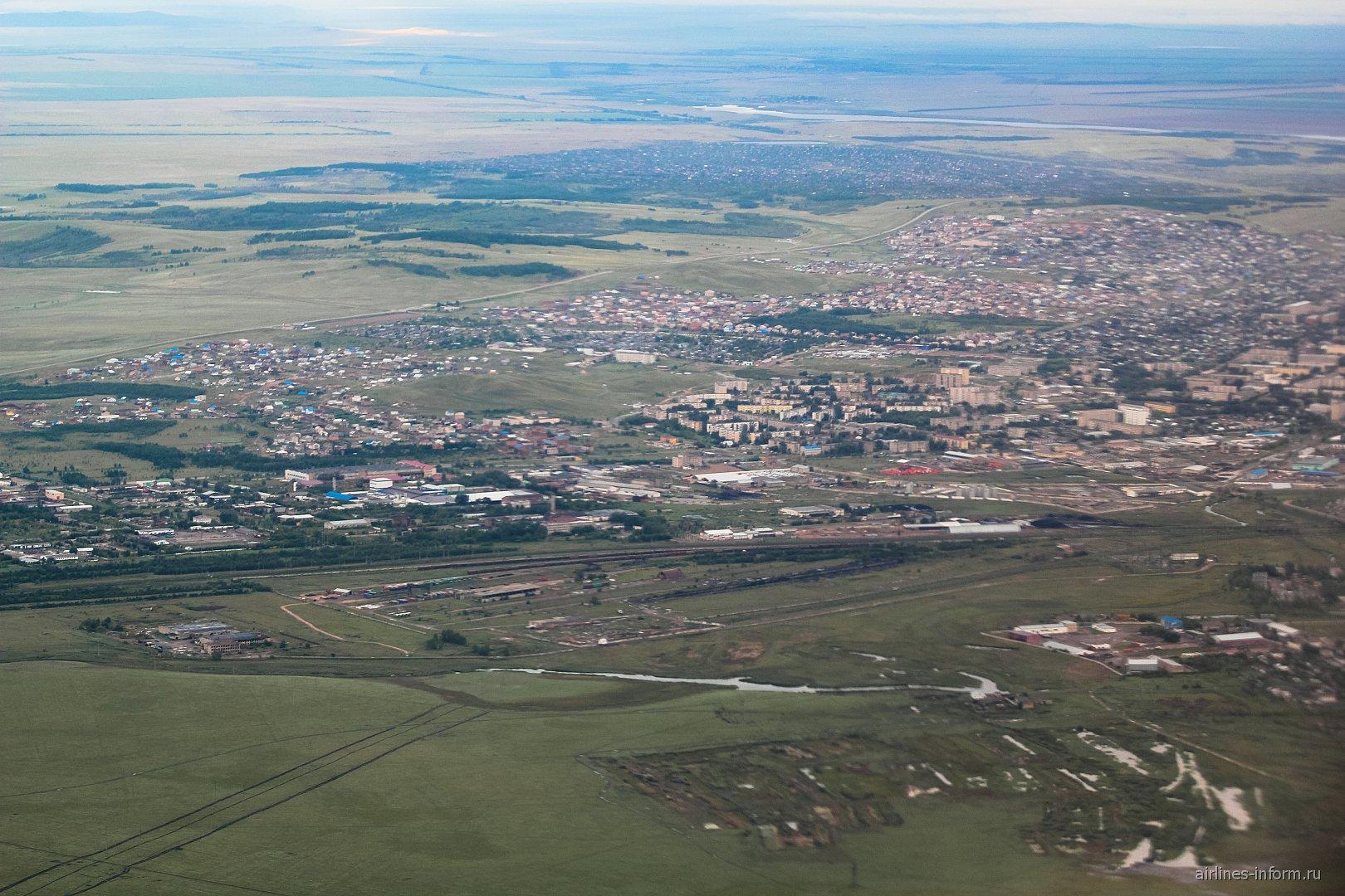 Вид при взлете из аэропорта Кокшетау