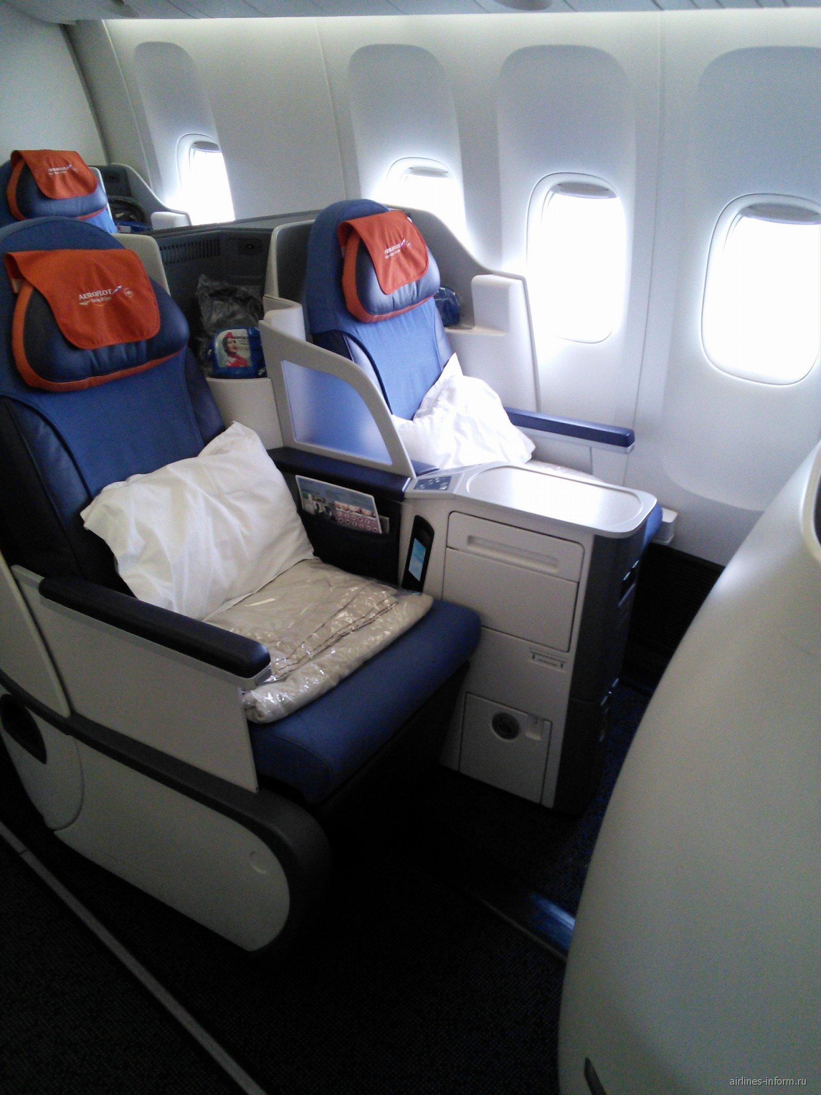 """Кресла-коконы в бизнес-классе """"Президент"""" самолета Боинг-777-300 Аэрофлота"""