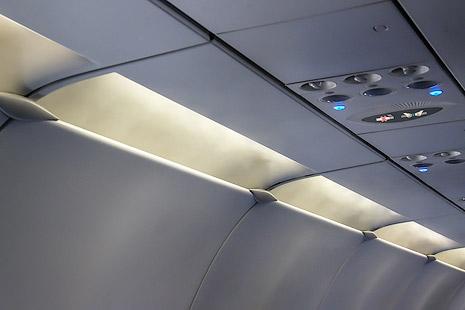Passenger class cabin in an Aeroflot Airbus A321