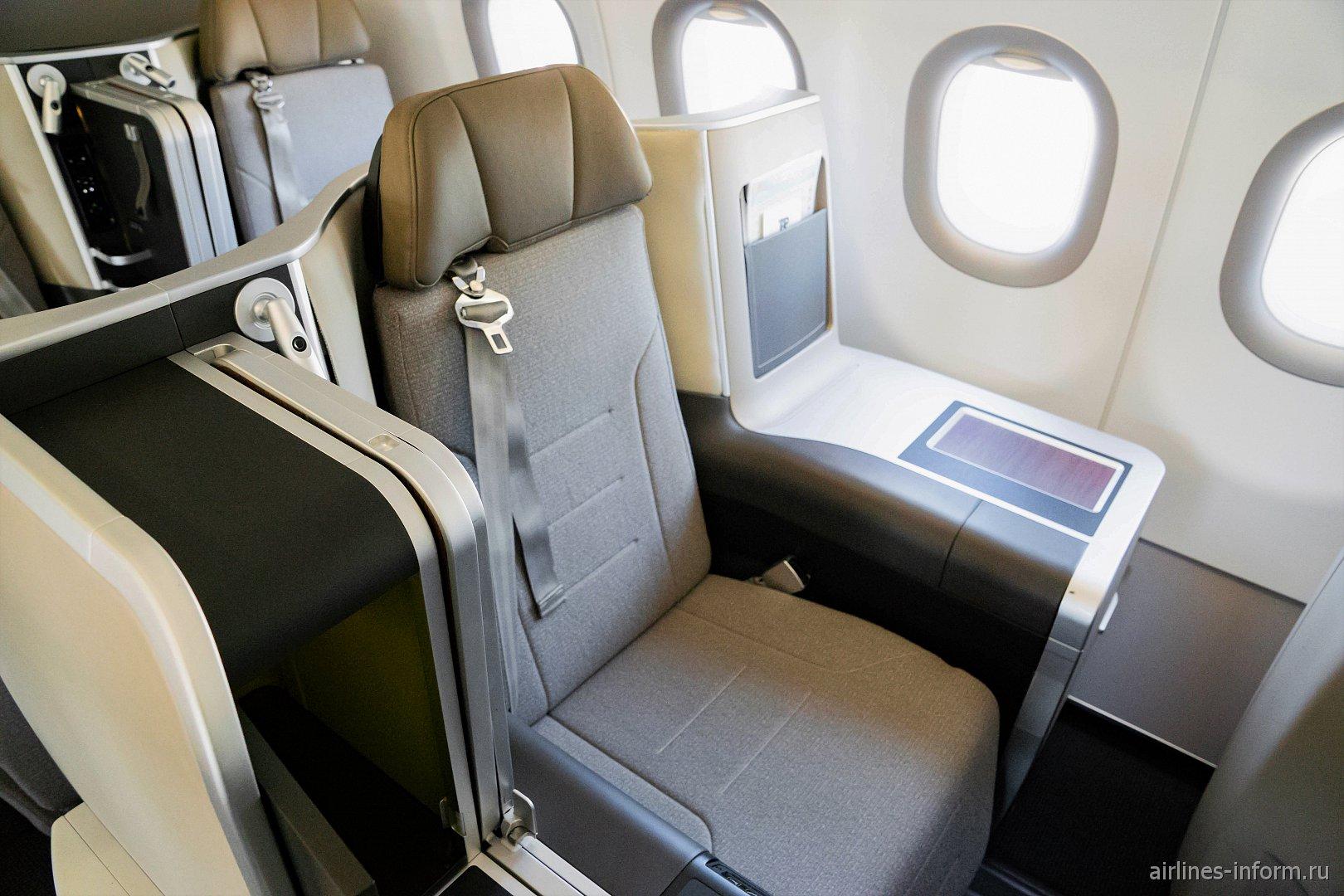 Место пассажира бизнес-класса в самолете Airbus A321LR авиакомпании TAP Portugal