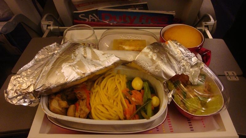 Питание на рейсе Сингапур-Бангкок Тайских авиалиний