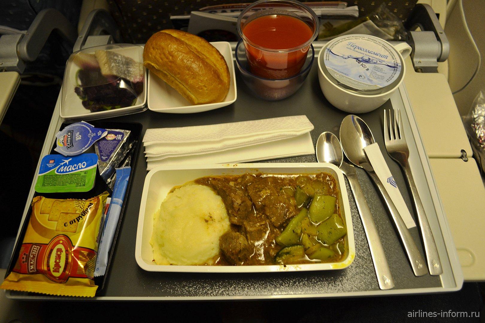 Бортовое питание на рейсе Сингапурских авиалиний Москва-Сингапур