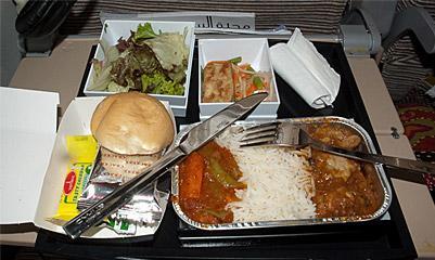 Meal on the flight Abu Dhabi-Bangkok Etihad Airways