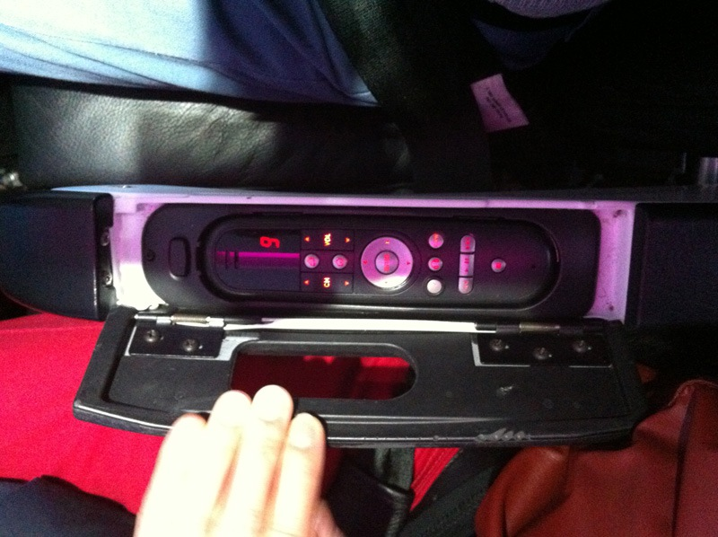 Entertainment system in an Airbus A320 of Virgin America