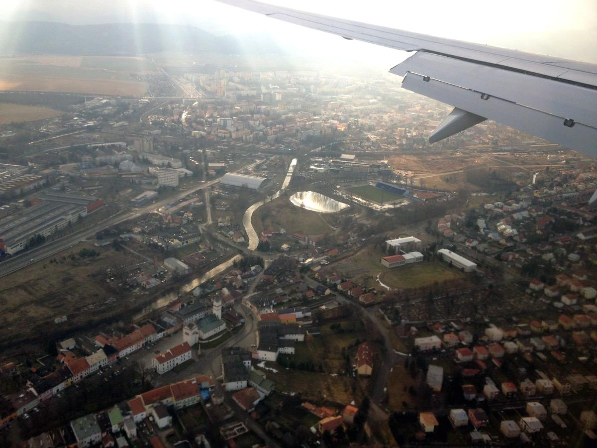 Над городом Попрад в Словакии
