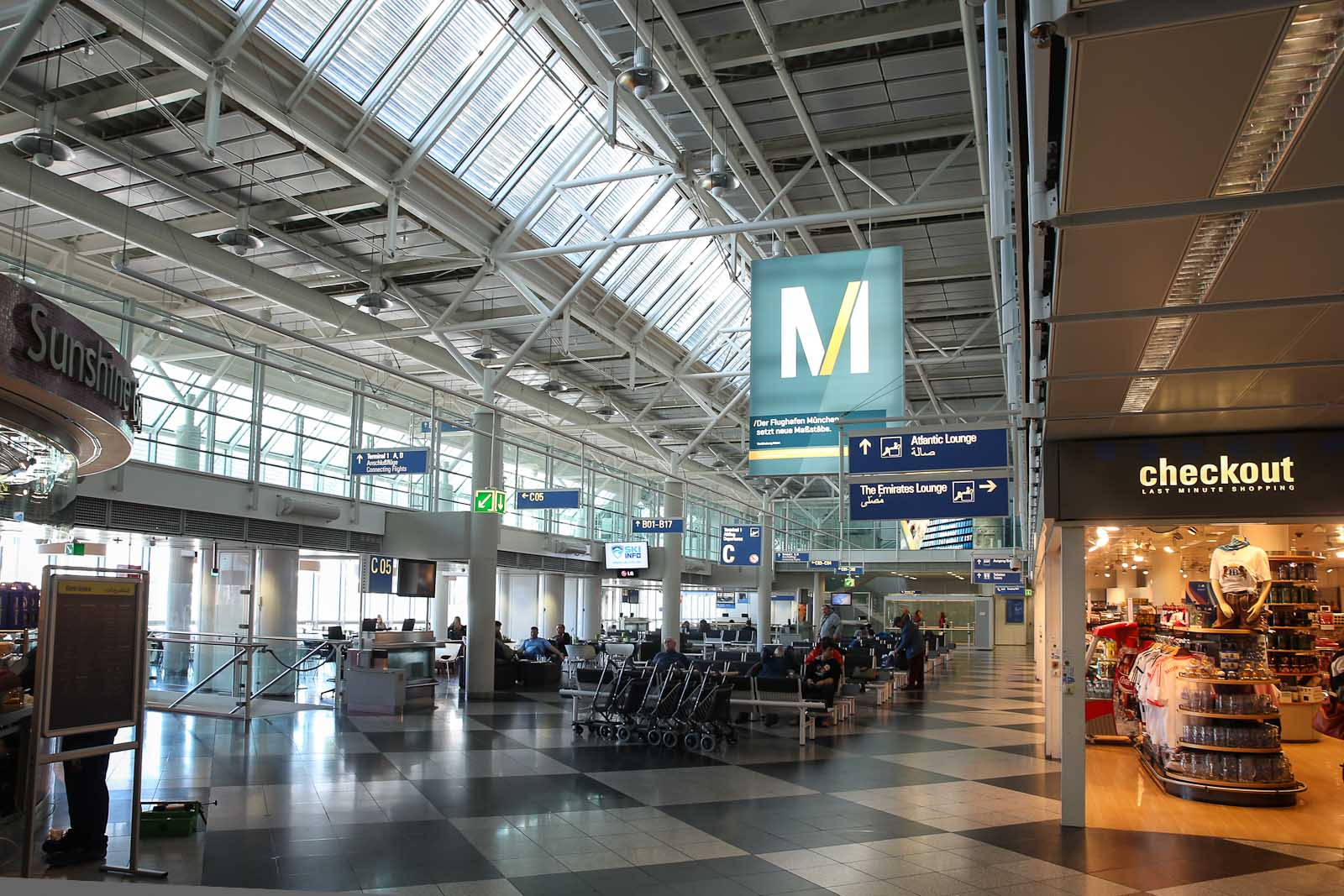 В чистой зоне Терминала 1 аэропорта Мюнхен