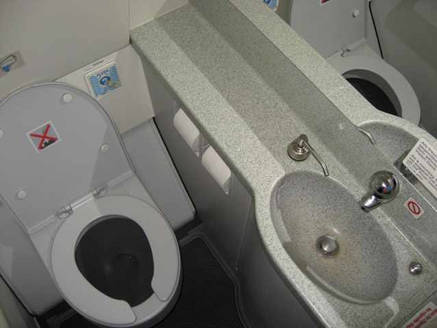 Restrooms of Airbus A319 of Germanwings