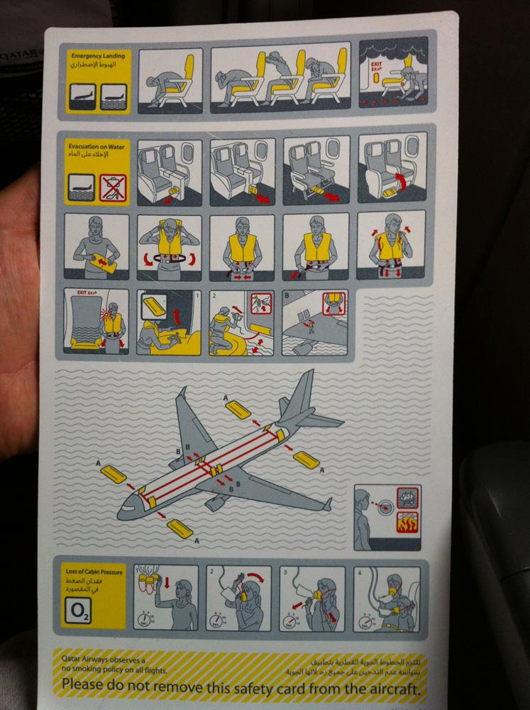 Инструкция по безопасности авиакомпании Qatar Airways