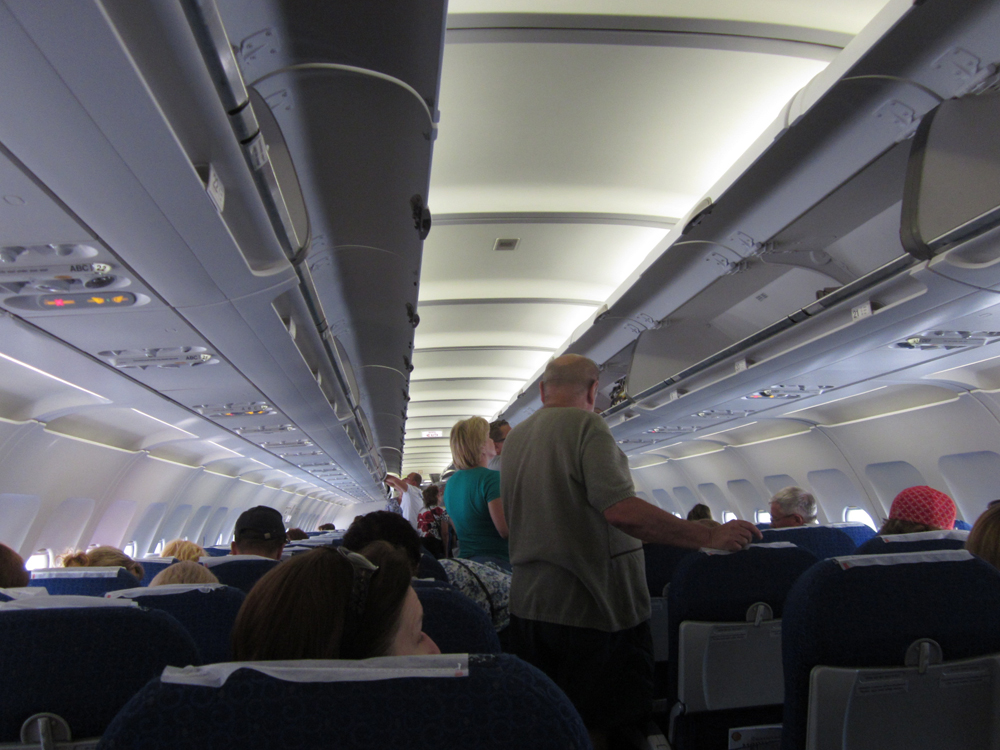 Салон самолета Эрбас А-320 авиакомпании Ямал