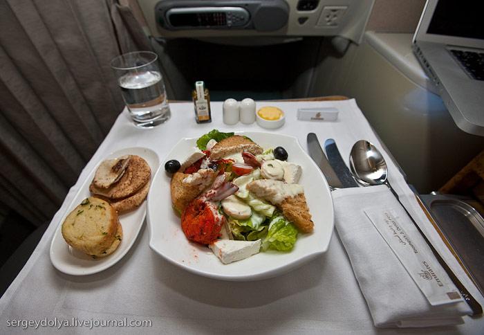 Питание в бизнес-классе Airbus A380 Emirates